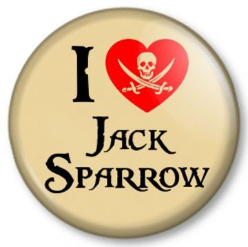 I Love / Heart JACK SPARROW Pin Button Badge Pirates of the Caribbean - Johnny Depp Movie